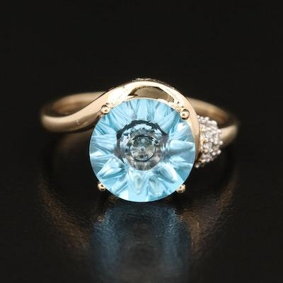 Glenn Lehrer 10K Topaz and Diamond Ring with Box