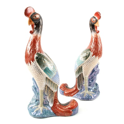 Chinese Hand-Painted Ceramic Peacock Figurines, Late 20th Century