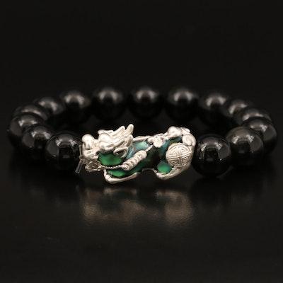 Chinese Thermochromic Guardian Lion Obsidian Bracelet