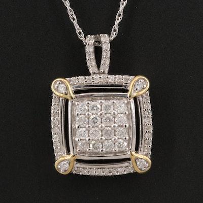 Sterling Silver Diamond Pendant Necklace