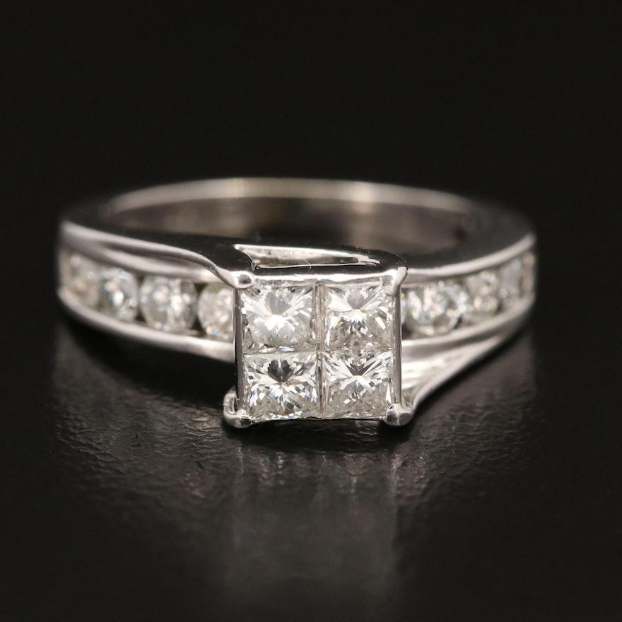 14K 1.45 CTW Invisible Set Diamond Ring