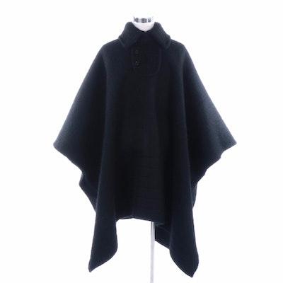 Black Alpaca Fur Poncho by Victor and Miraflores