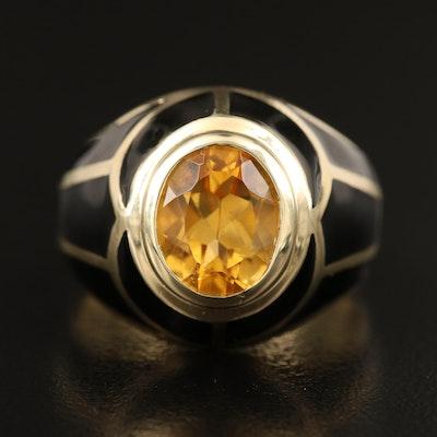 14K 2.00 CT Citrine and Enamel Ring