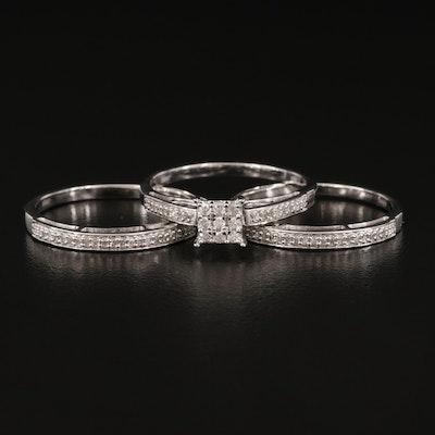 Sterling Silver Diamond Ring Set