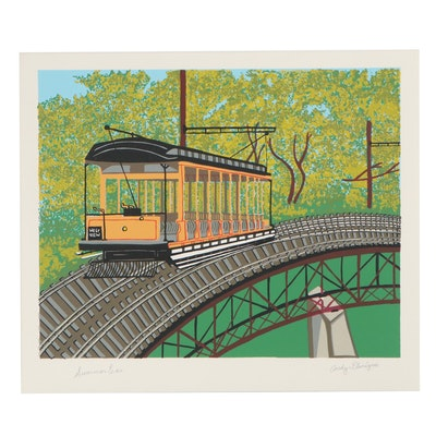 """Andy Flanigan Serigraph """"Summer Car,"""" Late 20th Century"""