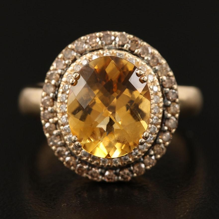 Le Vian 14K 3.00 CT Citrine  and Diamond Double Halo Ring