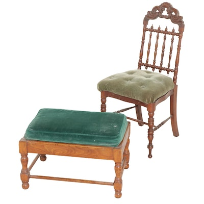 Gothic Revival Walnut Side Chair with William and Mary Style Footstool