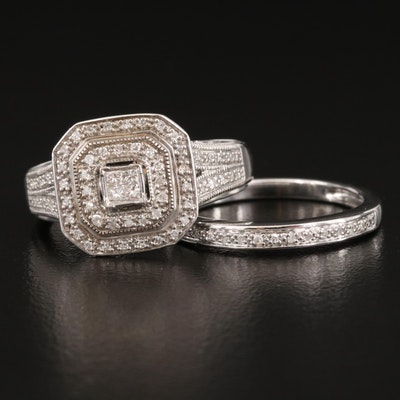 Sterling Silver Diamond Ring and Band