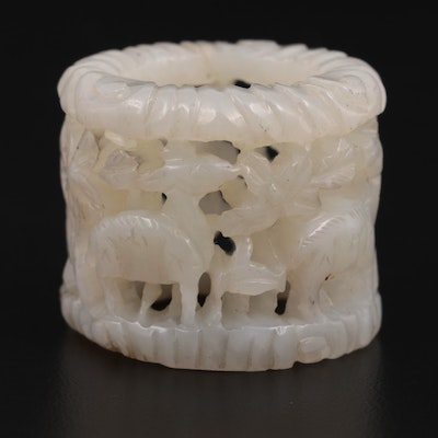 Chinese Carved Serpentine Archer's Ring with Animal Motif, Early 20th C.