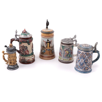 Beyer Hand-Painted Gaul Stein with an Assorted German Stein Collection