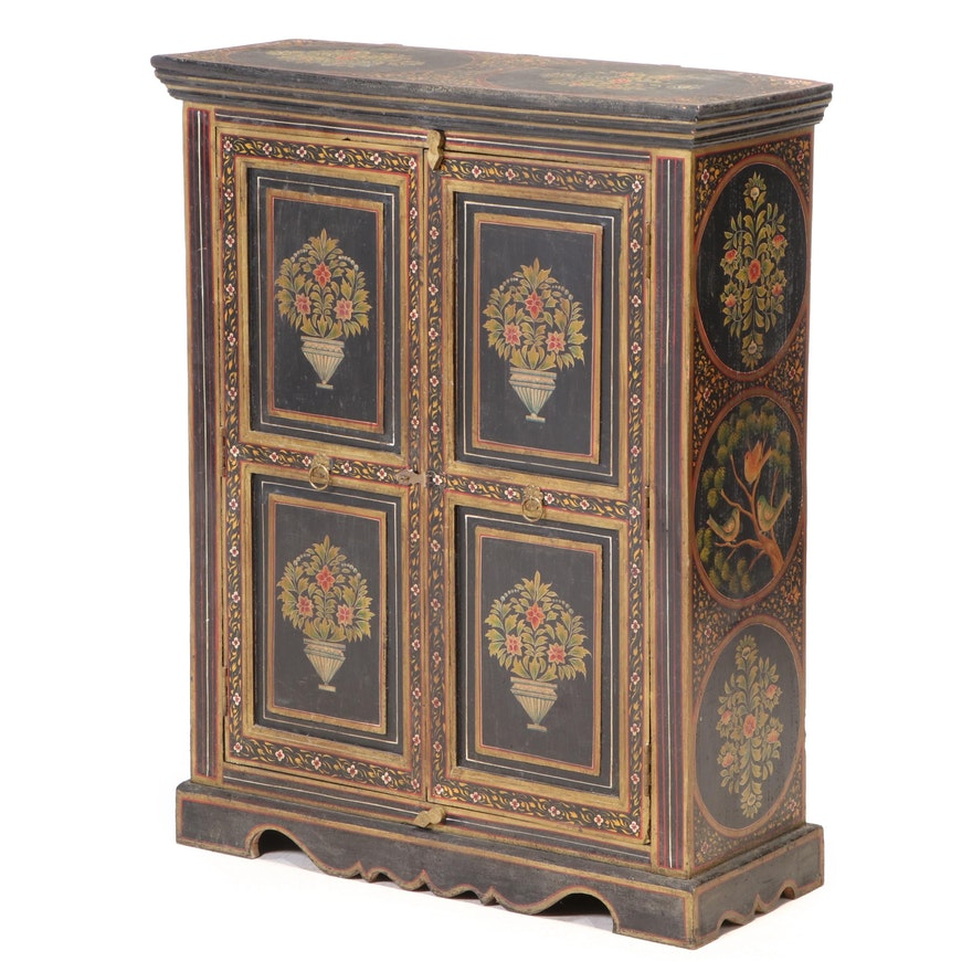 Sino-Tibetan Ebonized, Polychrome-Decorated, and Parcel-Gilt Cabinet