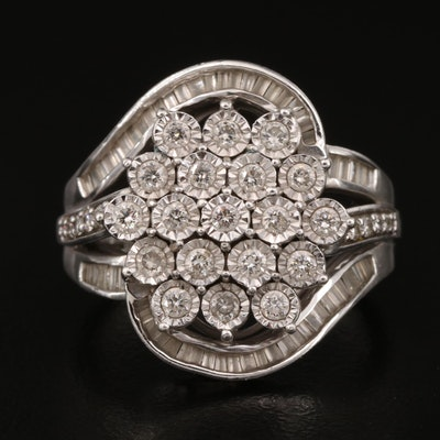 Sterling Silver 1.02 CTW Diamond Cluster Ring