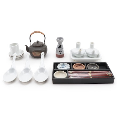Japanese Hammered Metal Teapot with Ceramic Soy Sauce Dishes and Other Tableware