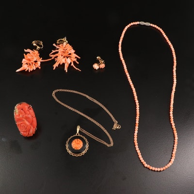 Vintage Coral and Black Onyx Jewelry Featuring 800 Silver Floral Ring