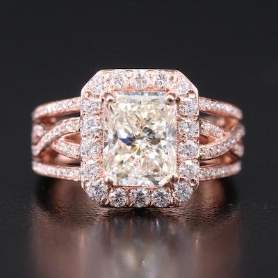 14K Rose Gold Diamond Ring with 3.01 CT Center Diamond