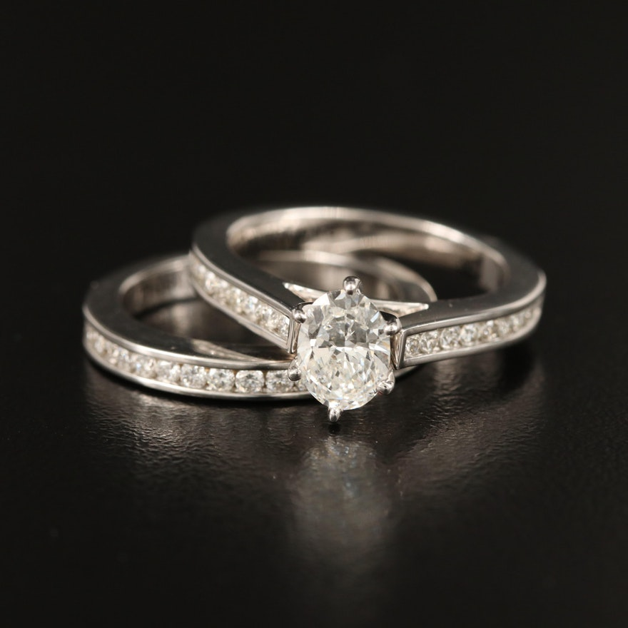 18K Diamond Ring and Channel Band Set with GIA Dossier