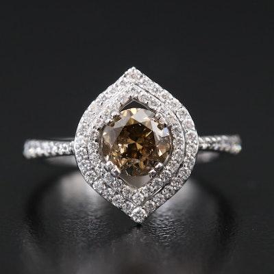 14K Diamond Double Halo Ring