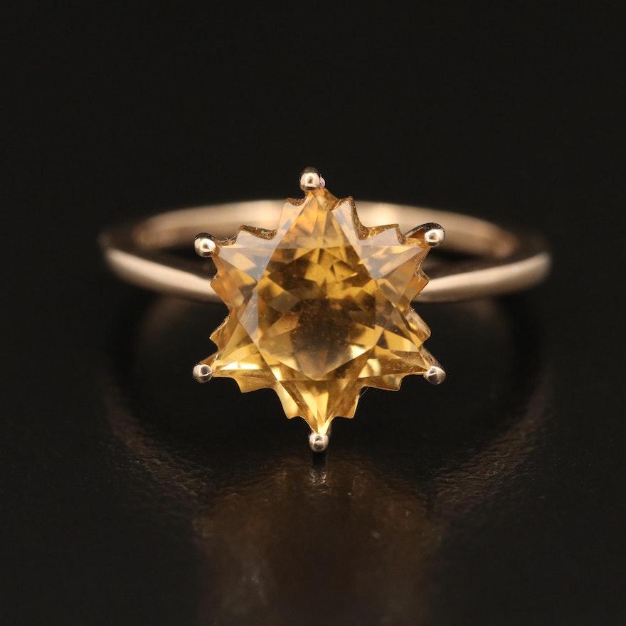 10K Citrine Star Faceted Ring