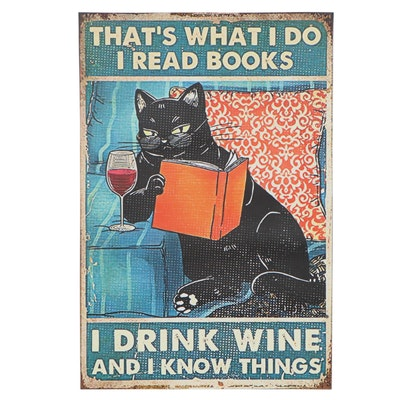 Giclée Poster Cat with Wineglass, 21st Century