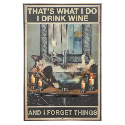 Giclée Poster of Cat with Wineglass, 21st Century