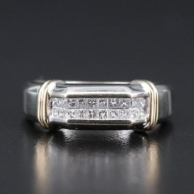 14K Two-Tone Diamond Double Row Ring