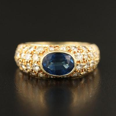 18K 1.00 CTW Diamond and 1.40 CT Sapphire Ring