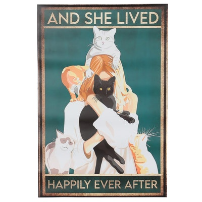 Giclée Poster Woman and Cats, 21st Century