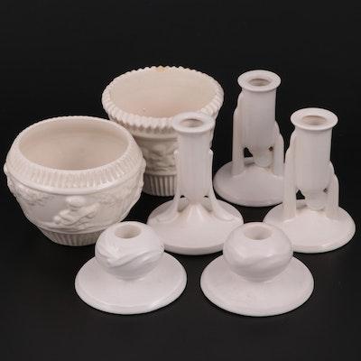 "Roseville ""Donatello"" Planters and Other White Glazed Tableware"