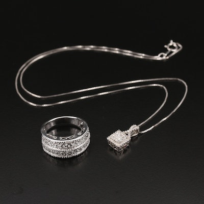 Sterling Diamond Pendant Necklace and Double Row Band