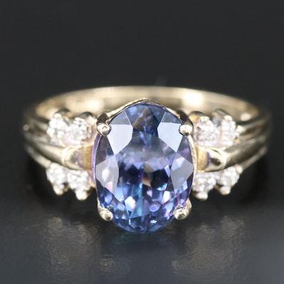 14K 4.17 CT Tanzanite and Diamond Ring