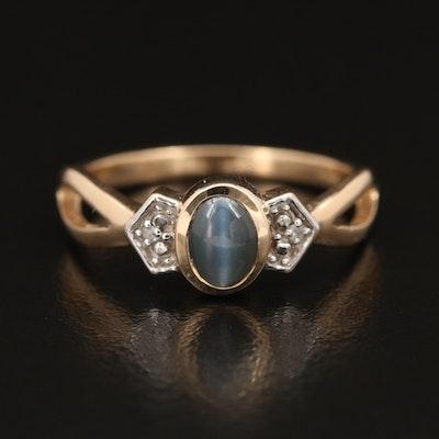 9K Cat's Eye Chrysoberyl and Diamond Ring