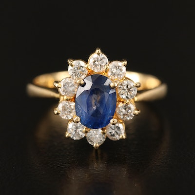 18K Diamond and 1.19 CTS Sapphire Halo Ring