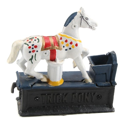 """Reproduction """"Tricky Pony"""" Mechanical Cast Iron bank"""