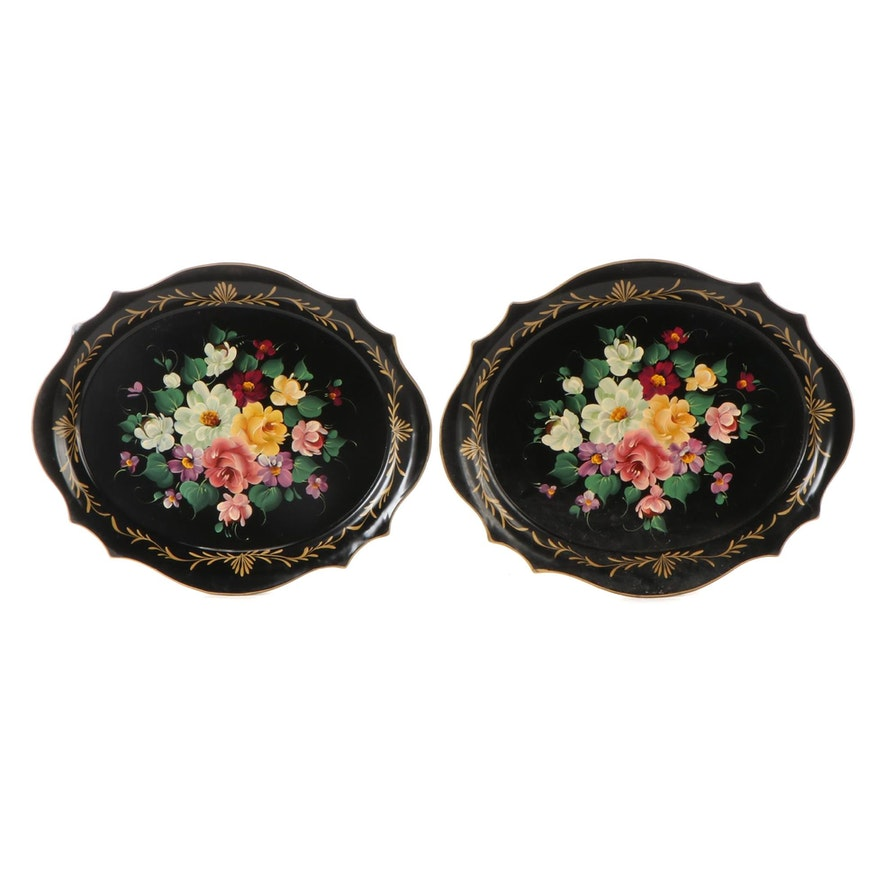 Hand-Painted Tole Metal Oval Trays, Mid-20th Century