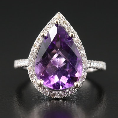14K 4.05 CT Amethyst and Diamond Halo Teardrop Ring