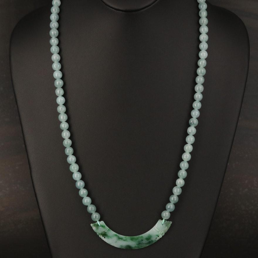 Jadeite Beaded Necklace with Crescent Pendant