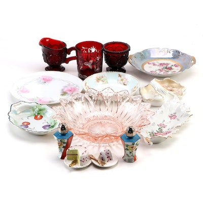 Pink Glass Bowl with Ruby Glass and Assorted Porcelain Serveware Collection