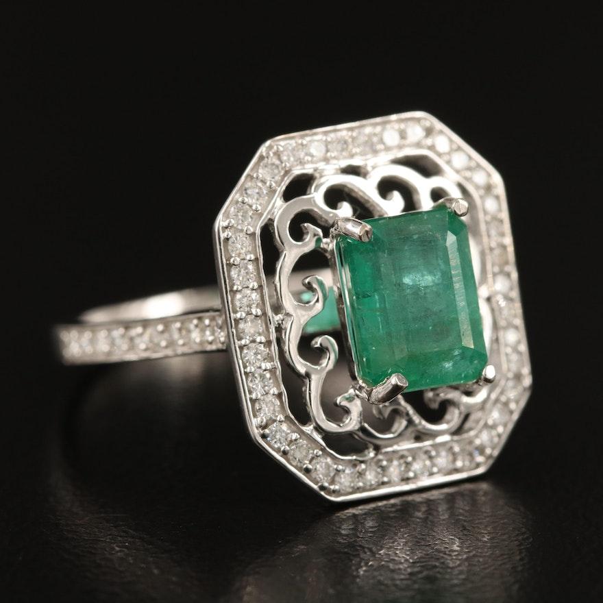 14K 2.08 CT Emerald and Diamond Ring