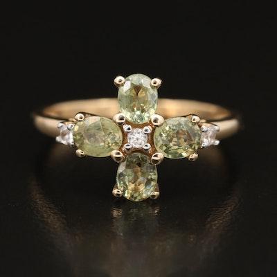 10K Peridot and Topaz Ring