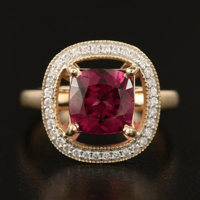 14K Rhodolite Garnet 2.71 CT and Diamond Halo Ring