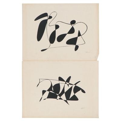 Abstract Ink Drawings, Late 20th Century