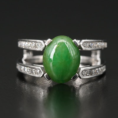 14K Diamond and 3.00 CTS Jade Ring