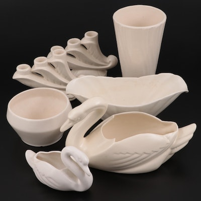 Bauer Pottery Ceramic Swan Planter and Other Cream Pottery Tableware, Mid-20th C