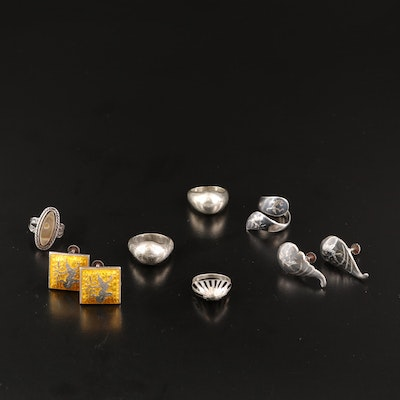 Vintage Sterling Silver Rings and Earrings Featuring Siam Sterling
