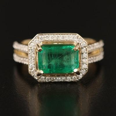 14K 1.97 CT Emerald and Diamond Halo Ring