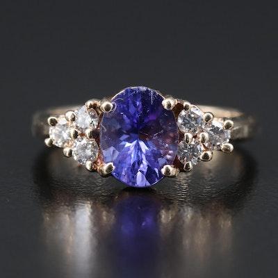 14K Diamond and 2.33 CTS Tanzanite Ring