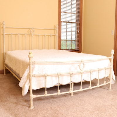 Arhaus French Country Style Painted Iron Queen Size Bed