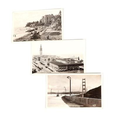 San Francisco and Waikiki Beach Souvenir Postcards, 1930s