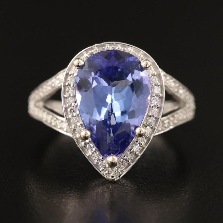 14K 3.74 CT Tanzanite and Diamond Halo Teardrop Ring with Split Shank