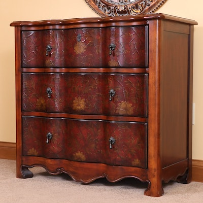 Block Front Chest of Drawers with Applied Foliate Design